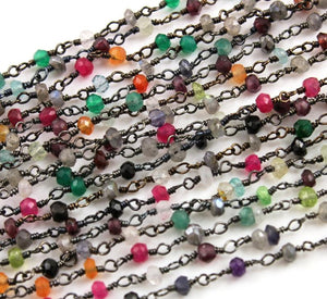 Mutlistone Faceted Wire Wrapped Rosary Chain, (RS-MUL-150) - Beadspoint