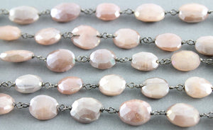 Peach Moonstone Faceted Wire Wrapped Rosary Chain, (RS-PMNS-146) - Beadspoint