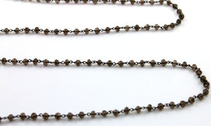 Smokey Topaz Faceted Wire Wrapped Rosary Chain, (RS-STP-85) - Beadspoint