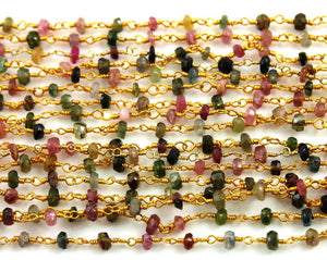 Tourmaline Wire Wrapped Rosary Chain, (RS-TML-112) - Beadspoint