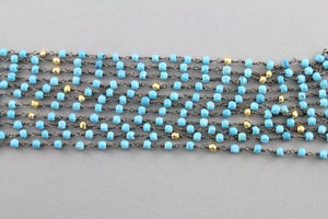 Turquoise and Pyrite Wire Wrapped Rosary Chain, (RS-TRPY-20) - Beadspoint