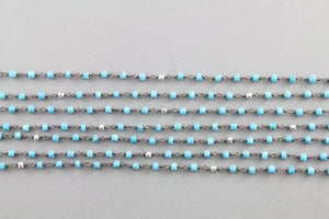 Turquoise w/ Silver Pyrite Wire Wrapped Rosary Chain, (RS-TRPY-23) - Beadspoint