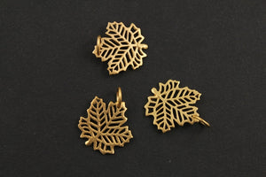 24K Gold Vermeil Over Sterling Silver Carved-Out Autumn Leaf Charm -- VM/CH4/CR77 - Beadspoint