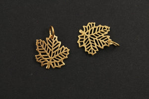 24K Gold Vermeil Over Sterling Silver Carved-Out Autumn Leaf Charm -- VM/CH4/CR77