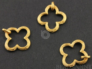 24K Gold Vermeil Over Sterling Silver Clover Charm -- VM/CH4/CR61 - Beadspoint