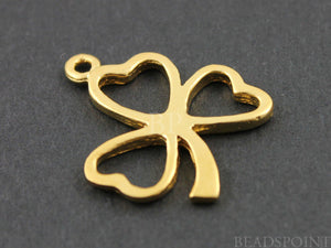 24K Gold Vermeil Over Sterling Silver Clover Charm -- VM/CH4/CR9
