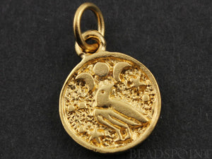 24K Gold Vermeil Over Sterling Silver Bird Charm -- VM/CH6/CR36 - Beadspoint