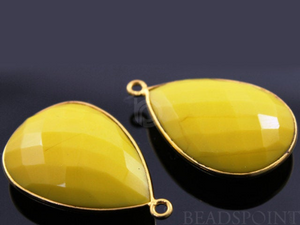 Stabilized Yellow Turquoise Faceted Pear Shape Bezel, (BZC7092) - Beadspoint