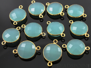 Aqua Blue Chalcedony Faceted Coin Connector, (BZC7231) - Beadspoint