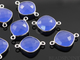 Dark Blue Chalcedony Faceted Cushion Connector, (SSBZC3033) - Beadspoint