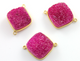 Pink Druzy Crystal Cluster Cushion Bezel Connector, (BZC9028-B) - Beadspoint