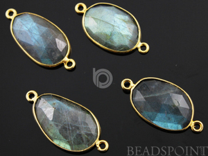 Labradorite Faceted Bezel Connector, (LABC020-A) - Beadspoint