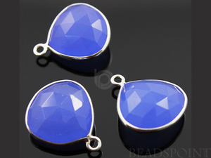 Blue Chalcedony Faceted Heart Shape Bezel, (SSBZC6083) - Beadspoint