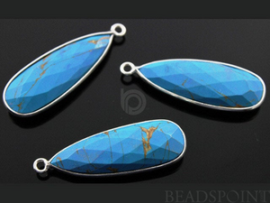 Turquoise Faceted Pear Shape Bezel, (SSBZC7123) - Beadspoint