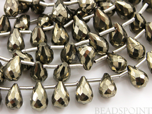 Pyrite Bronzed Gold Metallic Stone Faceted Tear Drops, (PYR7x12TEAR) - Beadspoint