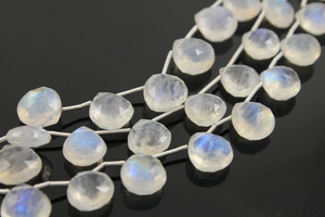 Rainbow Moonstone Faceted Heart Drop, (RM/HRT/10-11) - Beadspoint