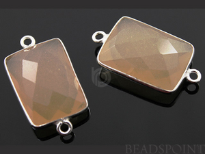 Sand Chalcedony Faceted Chicklet Cushion Bezel Connector, (SSBZC7450) - Beadspoint