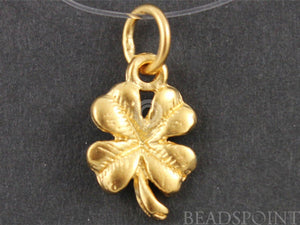 24K Gold Vermeil Over Sterling Silver Clover Charm -- VM/CH4/CR46 - Beadspoint