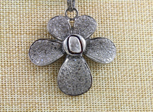 Pave Rose Cut Diamond Flower Pendant -- DP-1375 - Beadspoint