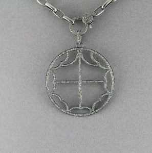 Pave Diamond Cross Circle Pendant --DP-0926 - Beadspoint