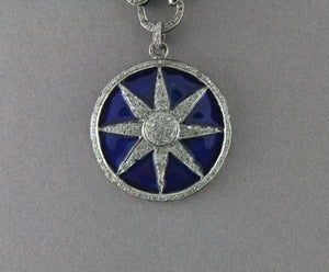 Pave Diamond Enamel Blue Star Pendant --DP-1309 - Beadspoint