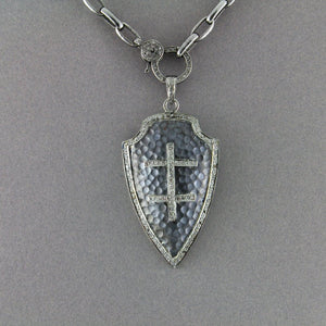 Pave Diamond Hammered Cross Arrowhead Pendant -- DP-0789 - Beadspoint
