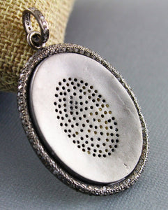 Pave Diamond Matte Finish Oval Pendant --DP-1285 - Beadspoint