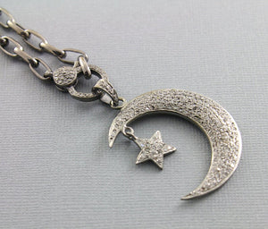 Pave Diamond Moon W/star Pendent -- DP-1393 - Beadspoint