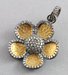 Pave Diamond Hammered Flower Pendant -- DP-1382 - Beadspoint