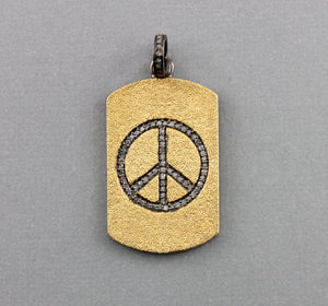 Pave Diamond Peace Pendant -- DP-0797 - Beadspoint