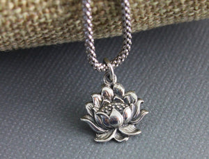 Sterling Silver Lotus Charm -- SS/CH4/CR106 - Beadspoint