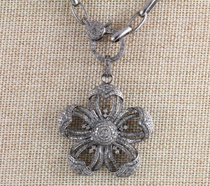 Pave Diamond Flower Pendant -- DP-1386 - Beadspoint