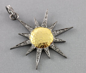 Pave Diamond Sun and Star  Pendant --DP-1077 - Beadspoint
