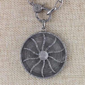 Pave Diamond Star With Disc Pendant --DP-1079 - Beadspoint