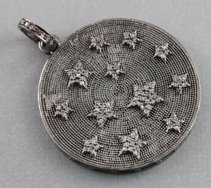 Pave Diamond Star With Disc Pendant --DP-1109 - Beadspoint