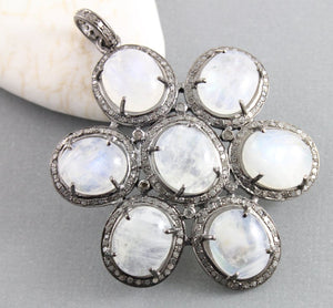 Pave Diamond Rainbow Moonstone Flower Pendant -- DP-1288 - Beadspoint