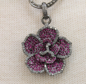 Pave Diamond Ruby Lotus Flower Pendant -- DRB-7087 - Beadspoint