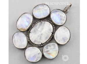 Pave Diamond Rainbow Moonstone Pendant -- DP-1515 - Beadspoint