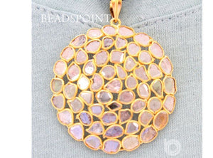 Pave Diamond Rose Cut Circle Pendant -- DP-1518 - Beadspoint