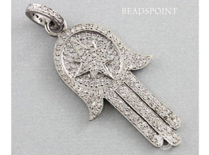 Pave Diamond Long Hamsa Pendant -- DP-1502 - Beadspoint