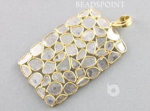 Pave Diamond Rose Cut Rectangle Pendant -- DP-1520 - Beadspoint