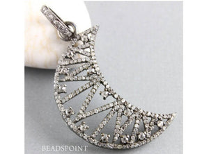 Pave Diamond Crescent Moon Pendant -- DP-1583 - Beadspoint