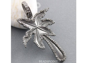 Pave Diamond Palm Tree Pendant -- DP-1580 - Beadspoint