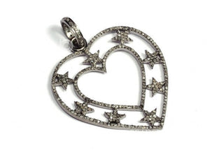 Pave Diamond Star Heart Pendant 3 Finishes-- DP-1605 - Beadspoint