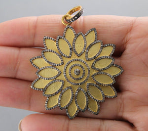 Pave Diamond Brush Gold Flower Pendant -- DP-1569 - Beadspoint