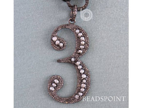 Pave Diamond Lucky Number Pendant -- DP-1625 - Beadspoint