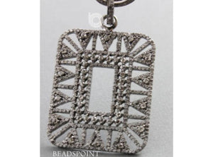 Pave w/ Large Diamond Rectangle Pendant -- DP-1589 - Beadspoint