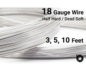 18 Gauge Sterling Silver Round Half Hard or Dead Soft Wire - Beadspoint
