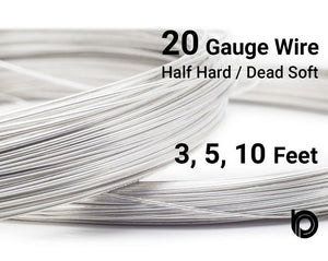 20 Gauge Sterling Silver Round Half Hard or Dead Soft Wire