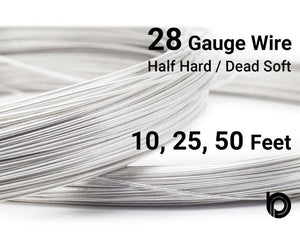 28 Gauge Sterling Silver Round Half Hard or Dead Soft Wire - Beadspoint